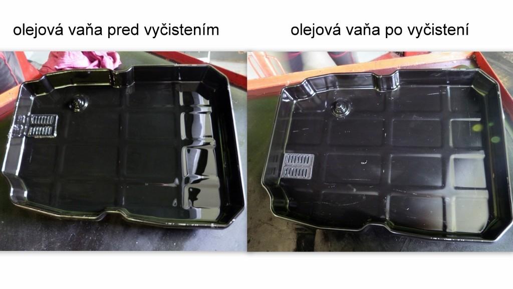 mercedes c270 olejová vaňa pred a po manuálnom vyčistení pri výmene oleja v automate