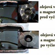mazda olejová vaňa pred a po manuálnom vyčistení