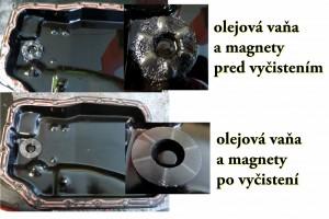 Mazda porovnanie olejovej vane pred a po manuálnom vyčistení počas výmeny prevodového oleja